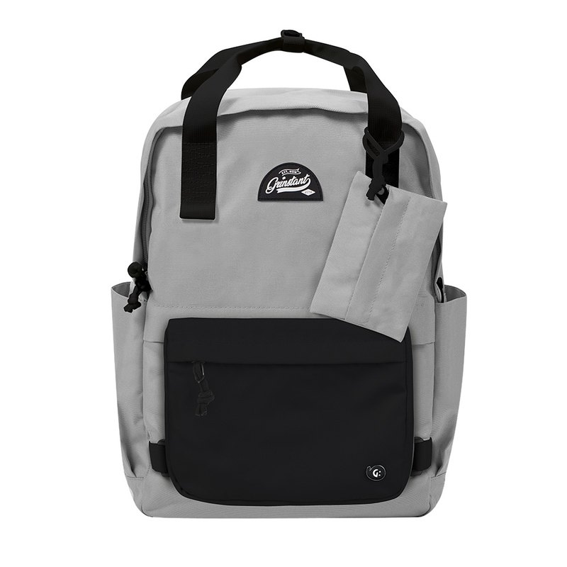 Grinstant Removable 15.6-inch Rear Backpack-Black and White Series (Gray with Black)