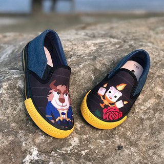 Boys shoes illustration convenient casual shoes - denim blue / beauty and the beast