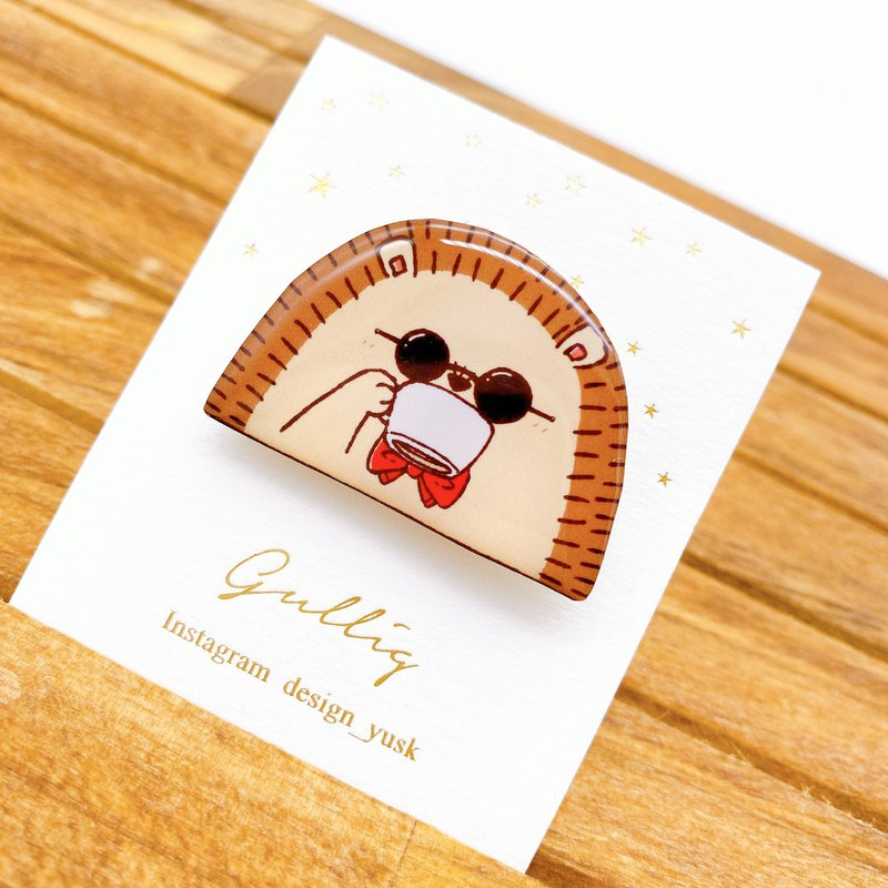 [Special price] Hedgehog brooch ~ coffee ~