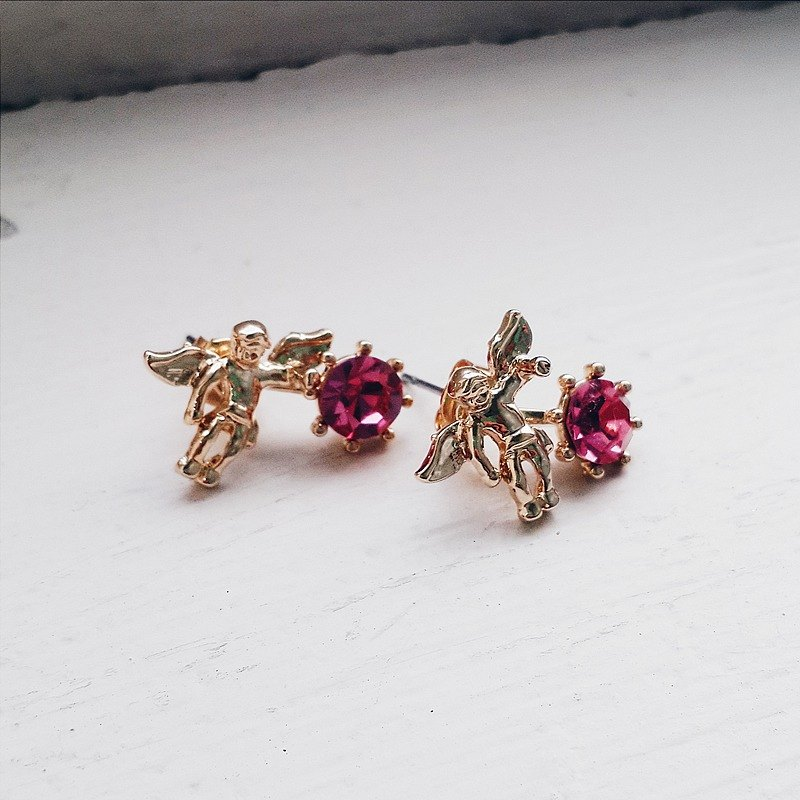 momolico little angel earrings swarovski crystal deep pink