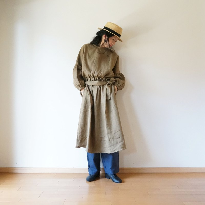 Linen waist gather one-piece KHAKI