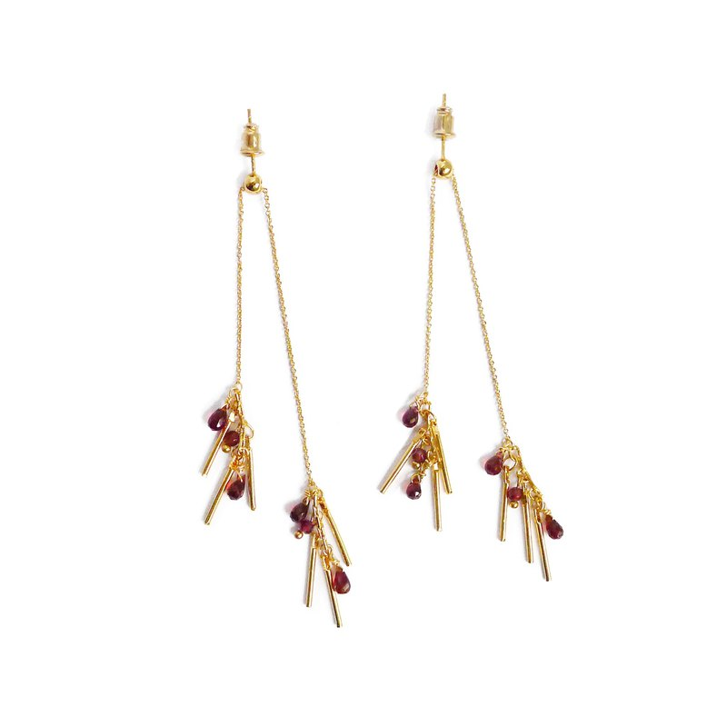 Ficelle | Handmade Brass Natural Stone Earrings | [Garnet] Flowering Prelude - 蓼蓼