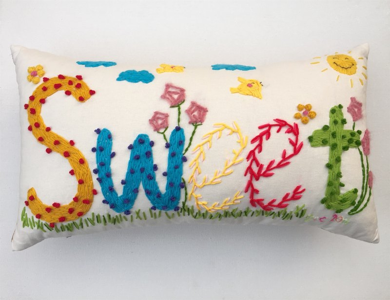Name pillow custom - original design handmade wool embroidery pillow creative gift - 5 letters