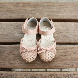 Good breathable hollow toe leather sandals - 妃 sugar powder