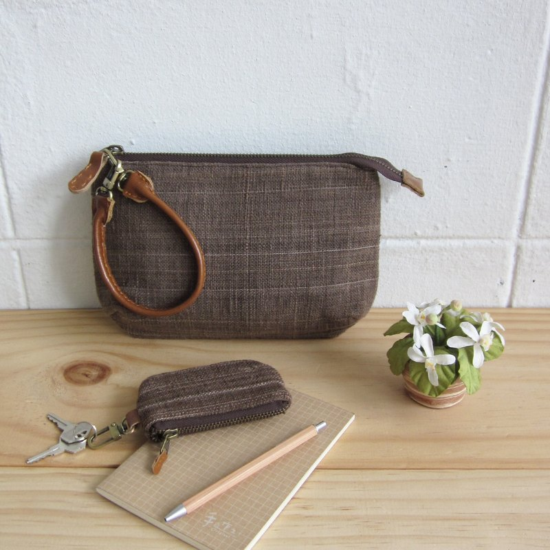 Multi Purpose Pouch with Leather Strap Botanical Dyed Cotton Brown Color
