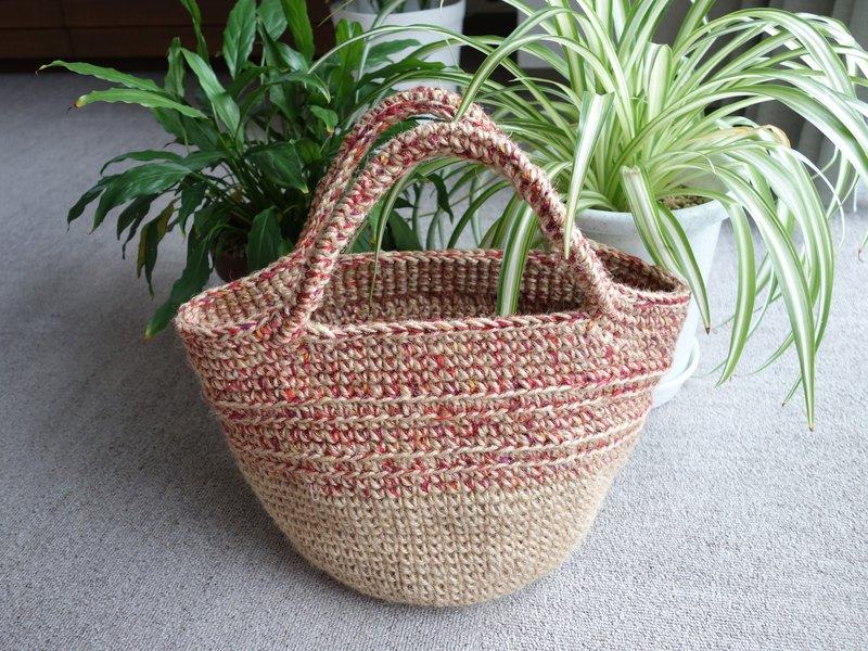 yuoworks / jute marche bag / red line