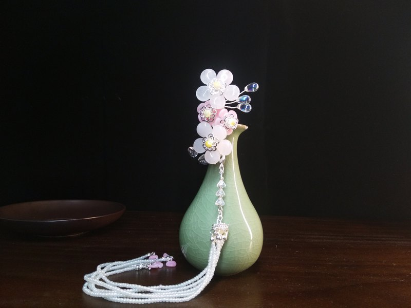 Ando time [sakura powder rose tassel hairpin] hairpin DIY original hand made