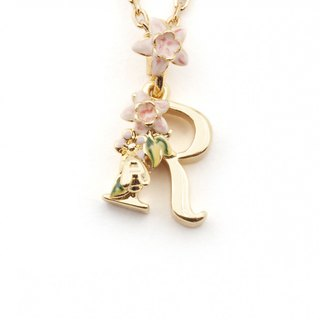 Flower English letter R necklace