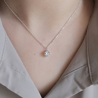 925 Silver Hearts and Arrows Zircon-Square Zircon Necklace