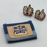 多層皮革酒袋布零錢包 ☆ Q版吉祥獅(藍)