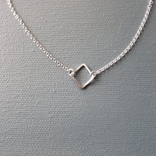 Elegant Rhombus Silver Necklace - Classic Geometric Series