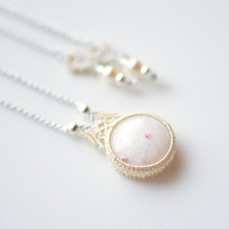 Spinel in Marble/Silk Macrame Necklace