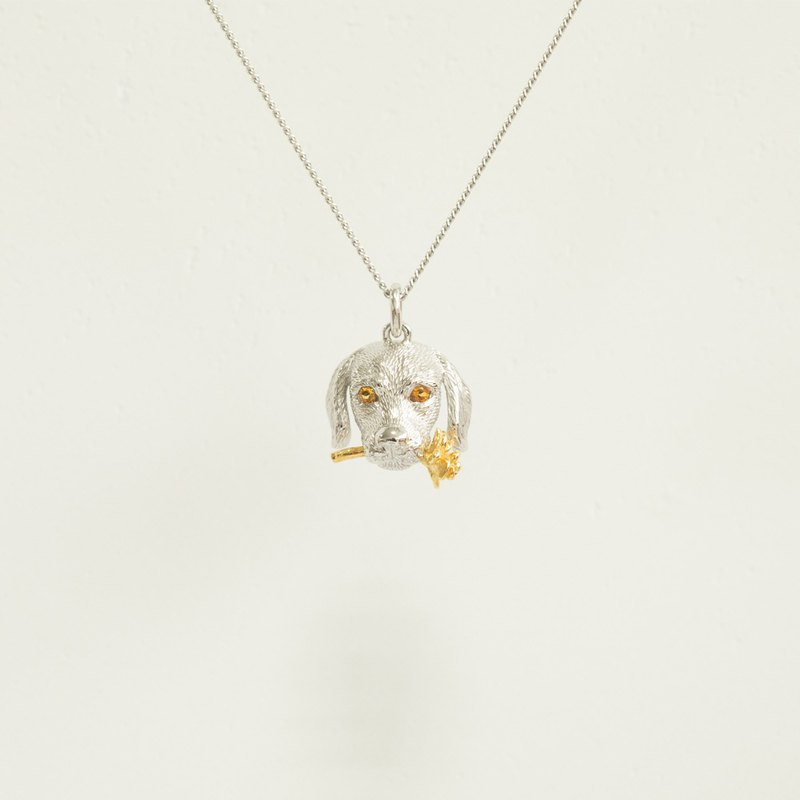 golden retriever 925 silver necklace