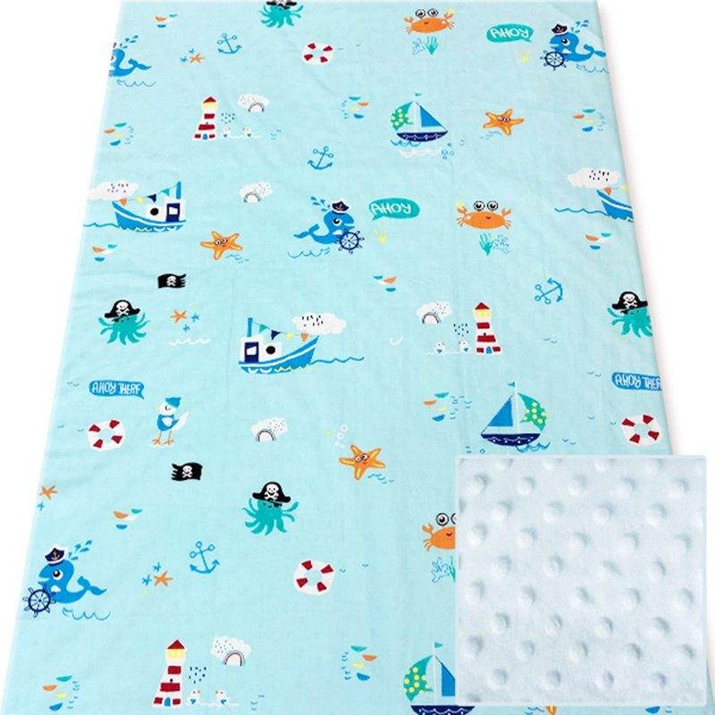 Minky多功能 點點顆粒 攜帶毯嬰兒毯冷氣毯被 藍色-海洋