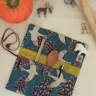 Weimom s Micro Bloom - Blue Bird - Pencil case, chopsticks set, Green tableware bag, Cloth roll, Christmas gift made in Taiwan - Hand made good product