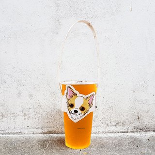 Modeling accompanying beverage cup set bag - long hair chihuahua