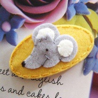 UK may-crimson ® pure handmade wool felt hair clip yellow bottom mouse section MCSGMY000