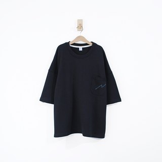 Lightning Line Pocket Cotton Extra Thick Cotton Five-Sleeve Top - Black