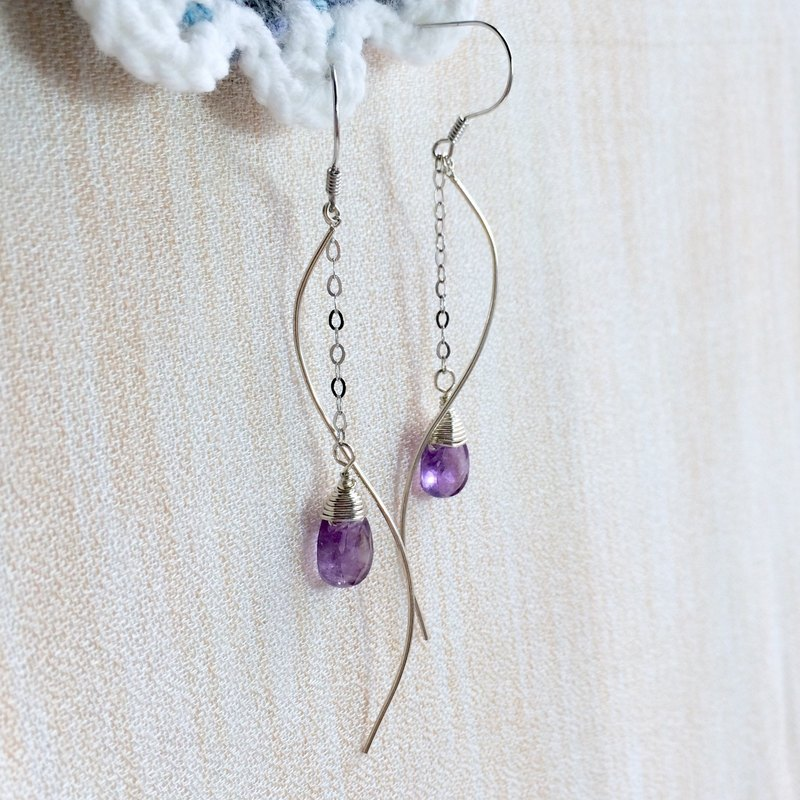 925 Silver Wave Amethyst Earrings Drops Flat Cut Section Simple temperament Miss Flora | 【Violet Series】