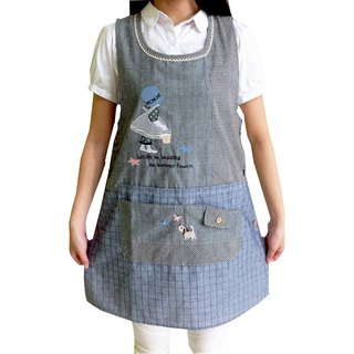 [BEAR BOY] basket girl apron - blue (side buckle)