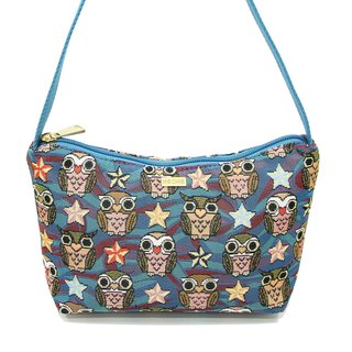 Night owl painting jacquard woven shoulder bag blue crescent -REORE