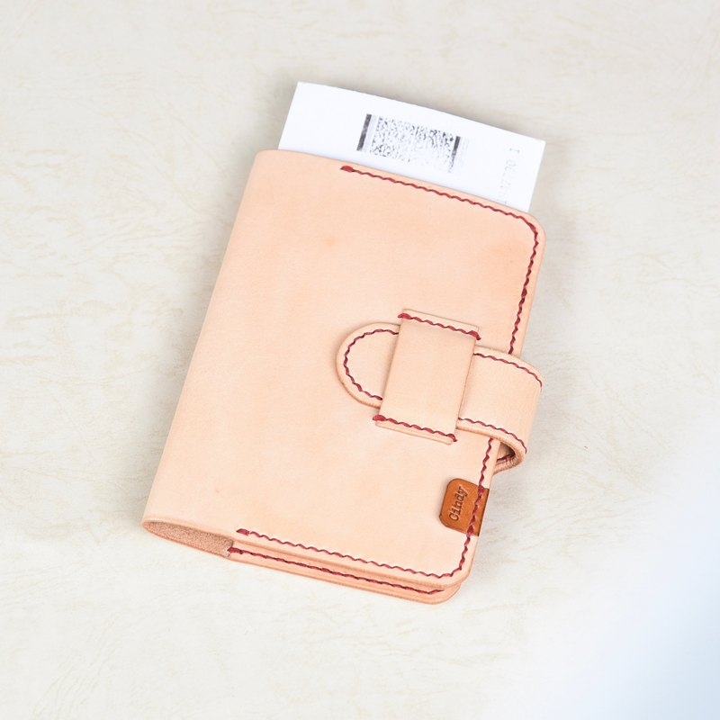 Goofy - Full vegetable tanned leather hand-stitched double character card Passport Case