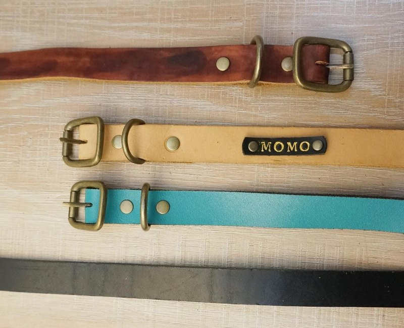 Sienna handmade leather pet collar group - M collar (including typing)