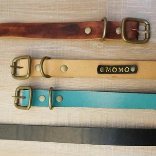 Sienna handmade leather pet collar - M collar (with typing)