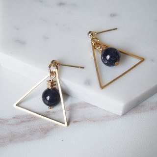 Blue sandstone, metal triangle, temperament earrings, gifts