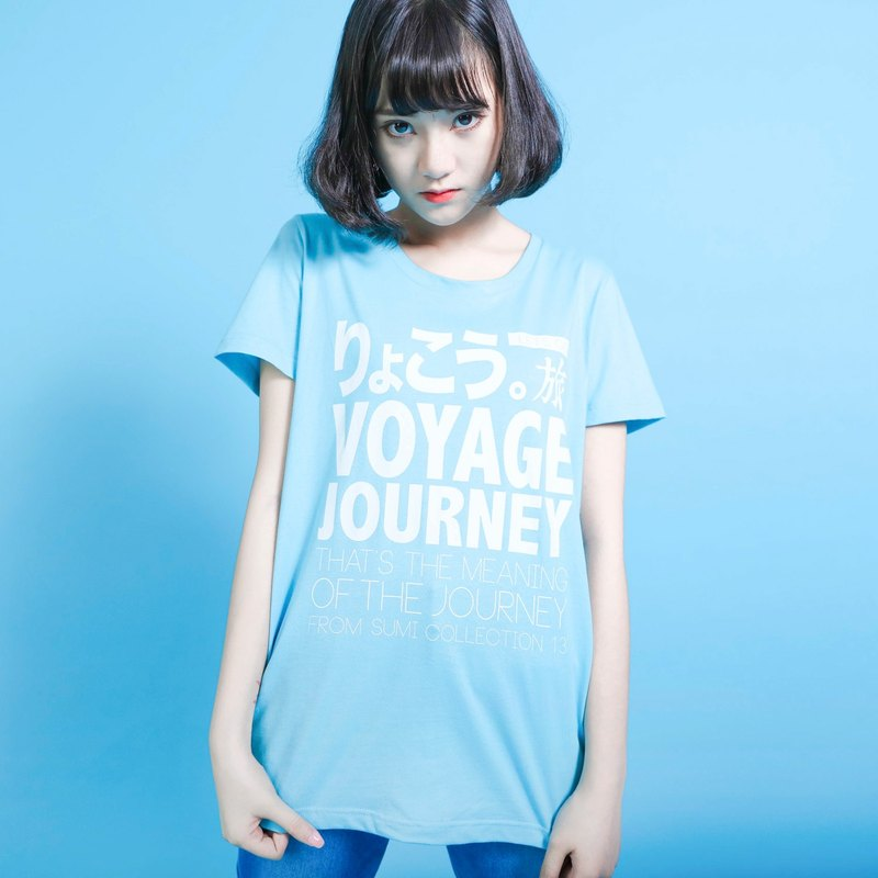 Travel travel language T-shirt_wide version_6SF003_sky blue / white