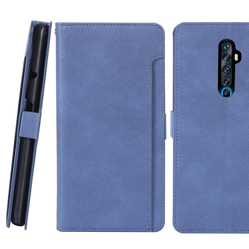 CASE SHOP OPPO Reno2Z cloth front card side vertical leather case - blue 4716769661415