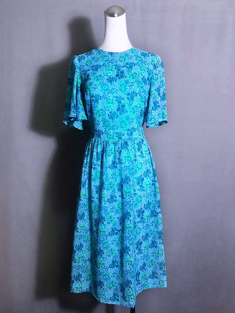 Blue Flower Wide Sleeve Vintage Dress / Bring VINTAGE abroad