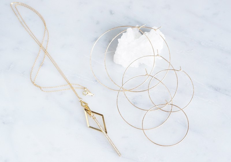 【14KGF】 Geometric Glass Bar Long Necklace
