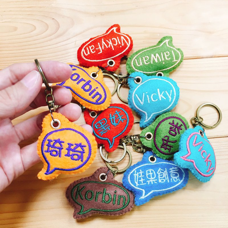 Non-woven dialog box embroidery word pendant order production*