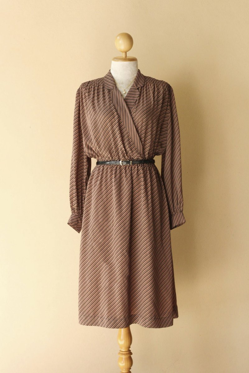 VINTAGE bias stripe dress, Brown black color