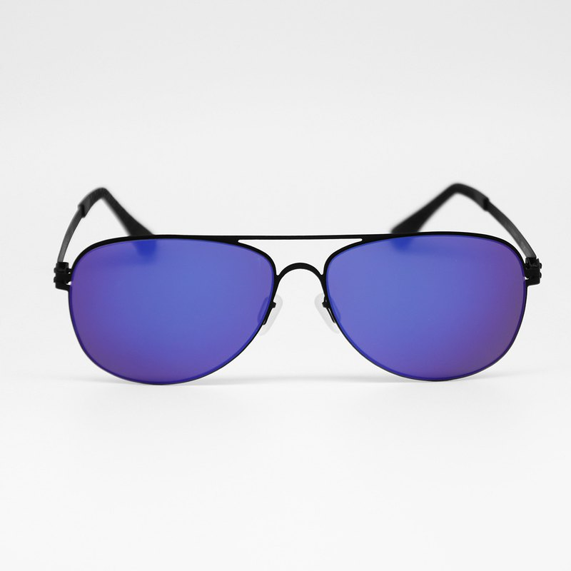 Scholastic Patent-Winning Design Metal Pilot Black Frame Blue Mercury Sunglasses