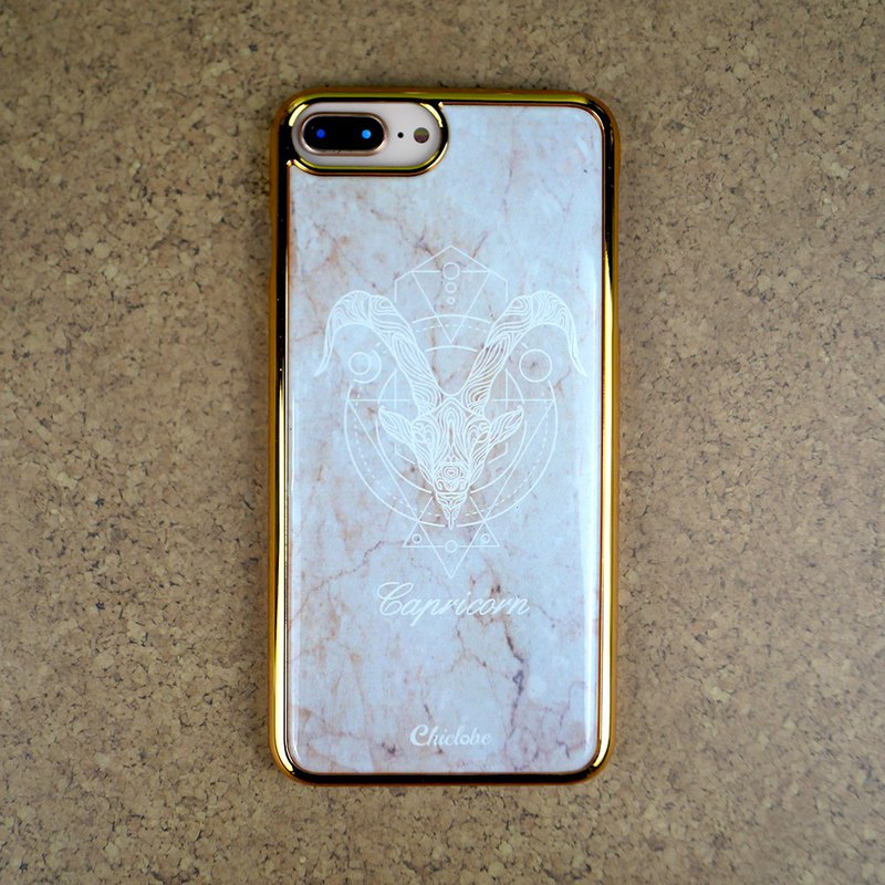 Capricorn seat | gold frame lucky phone case