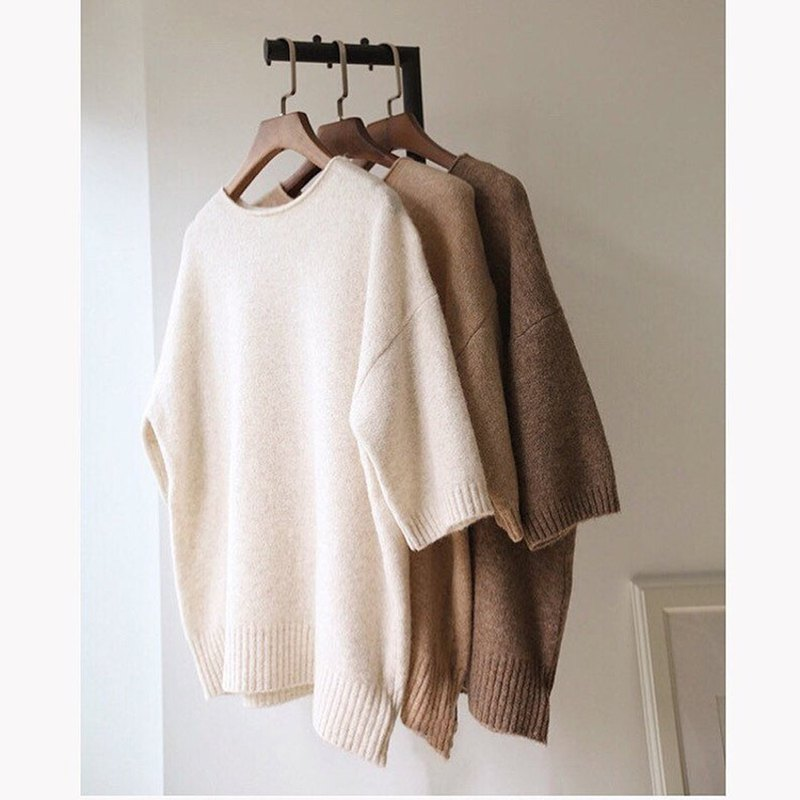 Clotilde Sweater - Earth color season soft and soft five-point sleeve wool sweater multicolor