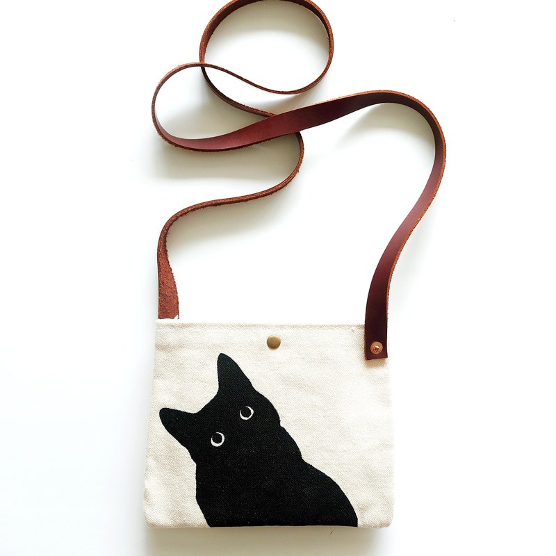 Retro packets black and white cat mobile phone accessories small shoulder bag DIY