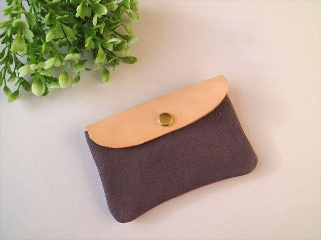 Pig leather soft card case [hand-dyed leather pass case] 168009