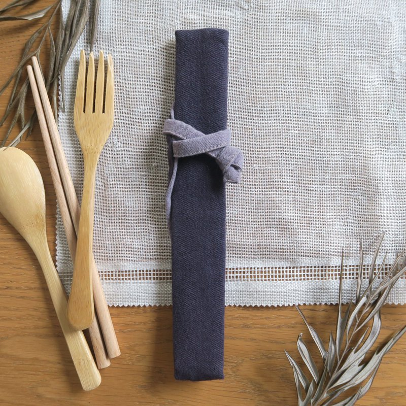 Cotton and linen tableware storage bag - tableware bag | narrow version | navy blue x gray purple