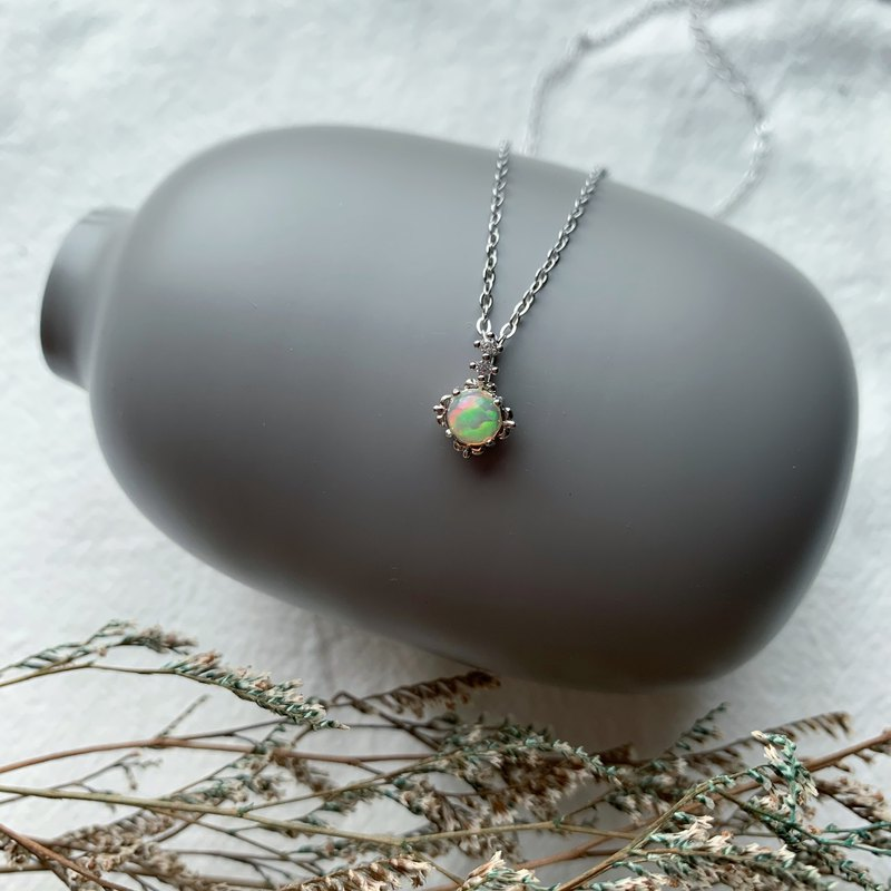 Opal 925 Sterling Silver Simple Style Necklace
