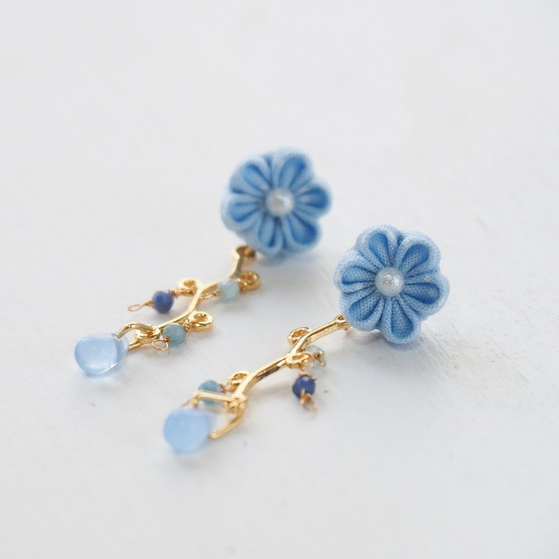 Cute pink blue natural stone drop glass beads custom earrings ear clip 14kgf 925