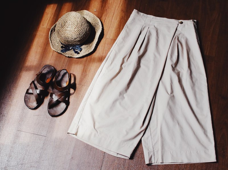 Tanabata limited time discount 77% off khaki discount pants + cowhide drag / sandals + hemp braided hat