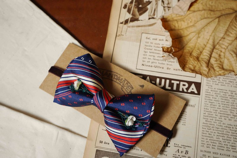 Antique tie hand-made bow tie-French blue white red-white rose version-Valentine's Day gift