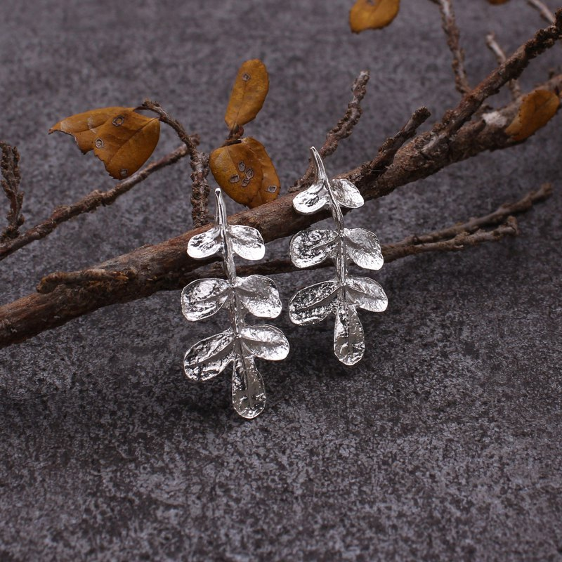 Pepper Tree Leaf Earrings Sterling Silver Leaf Series