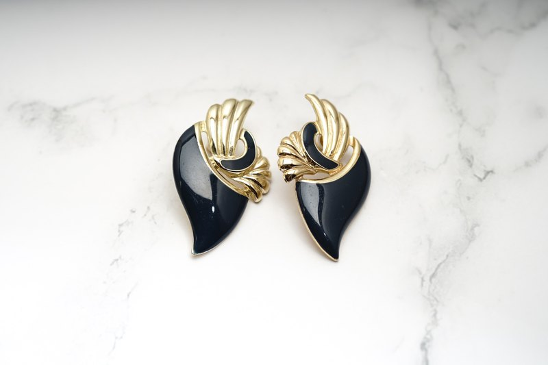 [Antique Jewelry / Old Western] VINTAGE Navy Blue Classic Ribbon Wings Vintage Pin Earrings
