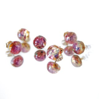 14KGF/ VINTAGE FIRE OPAL GLASS EARRINGS