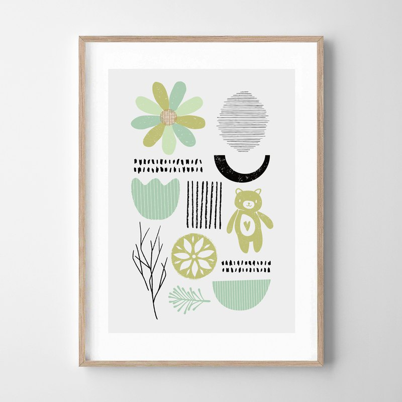 Mint gray print customizable posters