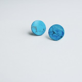 Turkish Blue Natural Stone Disc Earrings